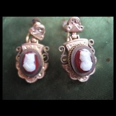 Beautiful Antique Gold Filled Cameo Earrings - Screw Backs