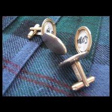 "REDUCED:   Vintage Gold Tone ""PHOTO Locket"" Cuff Links"
