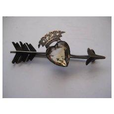 Stunning Scottish Victorian Silver Citrine Heart Brooch w/Crown