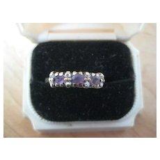 REDUCED:  Vintage English Engagement Ring, 9ct, Amethyst/Diamond, Size 7
