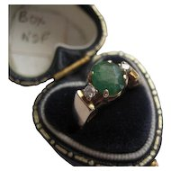 Vintage 14K Gold Emerald/Diamonds Ring Size 4.5 - 4.75