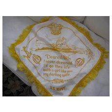 "WWII U S Navy ""Darling Wife"" Pillowcase From Hawaii"