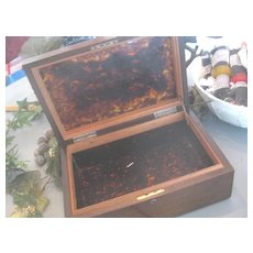 REDUCED: Large Antique Wooden Box w/Awesome Shell Interior.