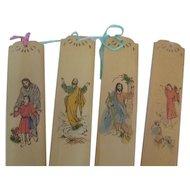 Set 4 Vintage French Religious Bookmarks w/Japanese writing (2nd Set)
