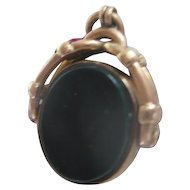 Victorian Bloodstone/Agate 9ct Gold Spinner/Fob C1885