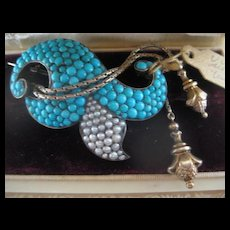 Exquisite Victorian Antique Turquoise/Pearl Brooch w/Tassels
