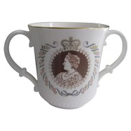 China Royal Doulton Loving Cup Queen Mother's 80th Birthday