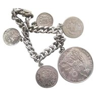 Heavy Peruvian Coins on Silver Chain Bracelet