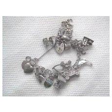 Vintage English Silver Charm Bracelet - Loaded w/Heart Lock