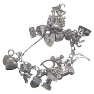 Vintage English Silver Charm Bracelet - Loaded w/Heart Lock