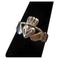 Vintage Large Size SILVER Irish Claddagh Ring Size 10.75