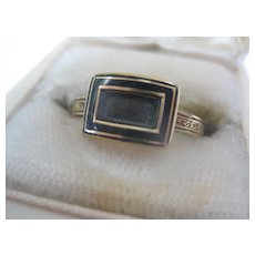 English Georgian Gold Mourning Hair Ring  Size 8.5  AS IS