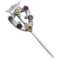 Beautiful Victorian Scottish Stick Pin w/stones