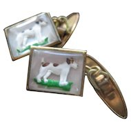 Vintage Carved Under Glass Terrier Dog Cufflinks