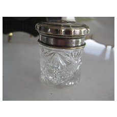 Victorian Cut Glass Dresser Pot w/Plated Lid