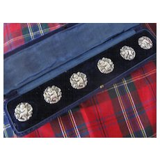 SALE: Boxed Set English (London Mark) Antique Silver Buttons w/Putti