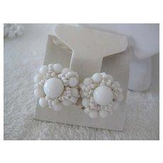 Vintage White Beaded Earrings (ONLY), Screw Backs