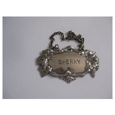 Vintage Silver Plate SHERRY Decanter Label w/Grapes