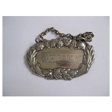 Vintage Silver Plate Decanter Label WHISKY