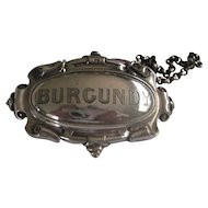 Vintage BURGUNDY Silver Plate Decanter Collar