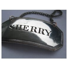 Elegant Vintage S Plate SHERRY Decanter Label