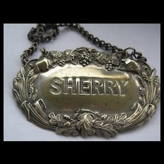 Vintage Decanter Label SHERRY - as is