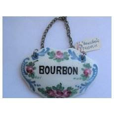 French China Vintage Decanter Collar BOURBON