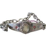 Vintage Silver Citrine Bracelet W/Adjustable Chain