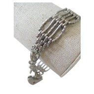 Vintage English Silver Gate Bracelet w/Fancy Links & Heart