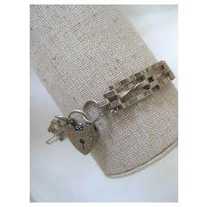 Vintage English Silver Gate Bracelet, 5/16 ins wide W/Heart