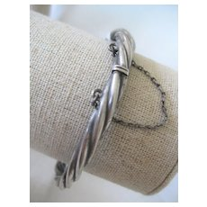 Vintage Silver Twist Style Bangle w/Hinge