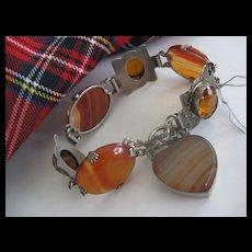 Victorian Agate/Carnelian/Cairngorm Silver Bracelet W Heart