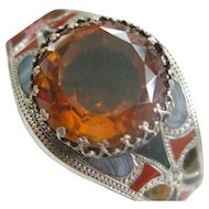 Victorian Engraved Silver Bangle w/Red and Green Jasper/Montrose Grey Agate