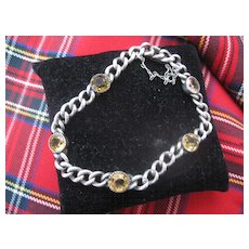 Vintage English Silver Bracelet with Citrines