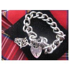 Heavy Vintage Chunky Silver Bracelet w/Charm and Heart Lock