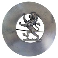 Large Antique Scottish Plaidie Pin W Rampant Lion