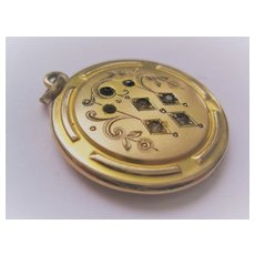 """Early 1900s Gold Filled Locket with Stones """"C"""" or """"G"""""""
