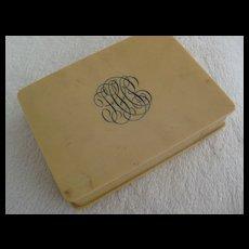 Vintage Ivorine Vanity Box w/original hairpins