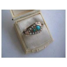 CORRECTION: Snake Shape  Vict. Rose Gold/Antique Turquoise Ring, Size 7