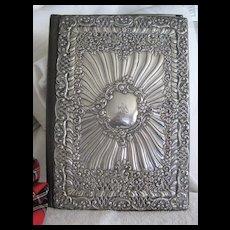"""LARGE..Antique English Silver Repousse Desk """"Blotter"""" 12ins x 8 3/4ins"""