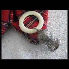 Vintage Scottish Teething Ring with Metal Thistle