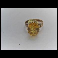 Vintage Faceted 10k Citrine Ring Size 7 3/4