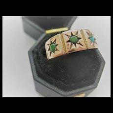 Beautiful English 9ct Rose Gold Ring w/Turquoise Size 5.75