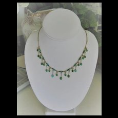 Stunning Art Deco Turquoise/Gold on Silver Festoon Necklace