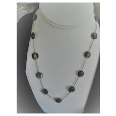 Art Deco Labradorite Beaded Necklace on Gold Filled Chain