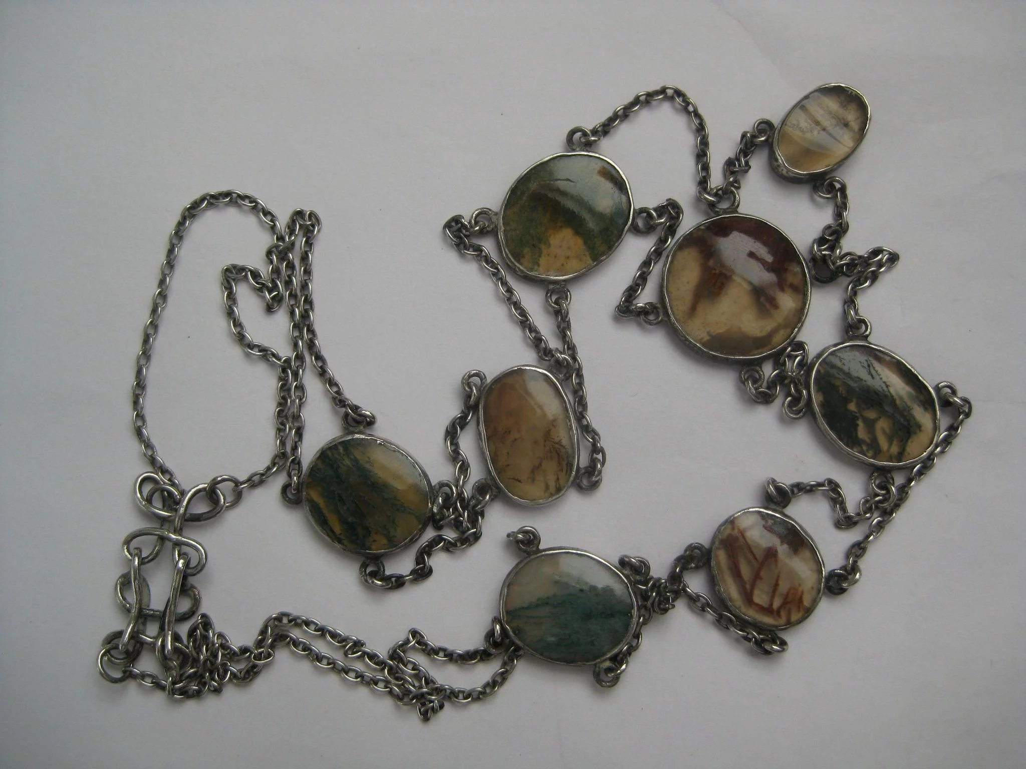 necklace chain agate by material wrapped pendant fine silver wire tribe inch shop moss hill components thai browse