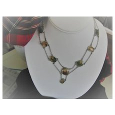 Antique Scottish Moss Agate Necklace w/Double Silver Chain