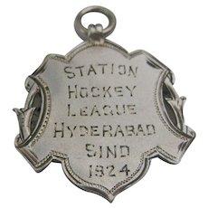 c1924 Silver Hypehabad Hockey Medal India/Pakistan