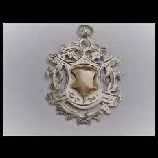 Pretty c1921 Chester silver Medal w/Rose Gold Raised Shield