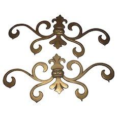 "PAIR Heavy Antique Brass Decor Pieces...17"" wide (1/4"" thick)"